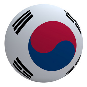 South Korea Flag On The Ball Isolated On White.