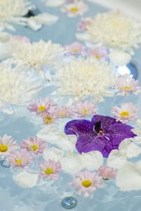 Spa flowers on water in spa room