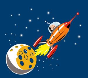 Spaceship Man Moon