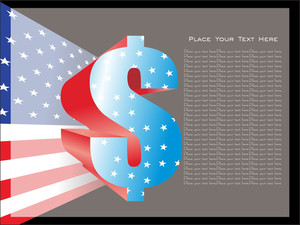 Spangled Dollar Sign With Flag Background