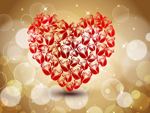 Sparkling Red Heart Shape  Made With Roses On Brown Shiny Seamless Background