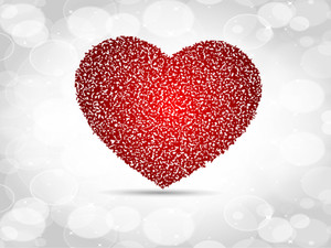 Sparkling Red Heart Shape Made With Small Heart Shape On Grey Seamless Background