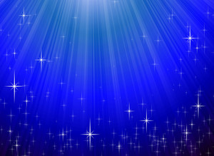 Sparkling Stars On Blue Night Background. Vector.