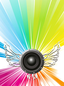 Speaker sounds with wings on shiny abstract background.
