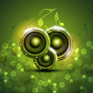 Speakers On Beautiful Shiny Green Abstract Background.