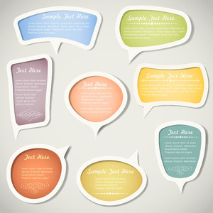 Speech Bubbles  With Calligraphic Elements