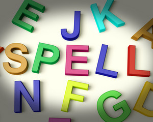 Spell Written In Plastic Kids Letters