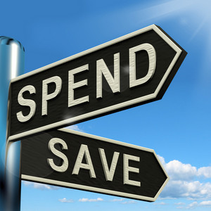 Spend Or Save Signpost Showing Budget Finance And Income