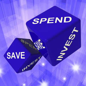 Spend, Save, Invest Dice Background Shows Finances And Debts