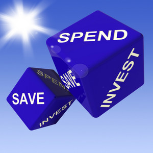 Spend, Save, Invest Dice Showing Budgeting
