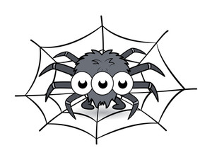 Spider In Its Web Cartoon - Halloween Vector Illustration