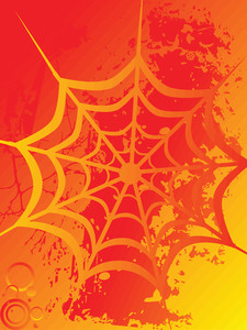 Spider Net On Orange Background