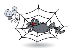 Spider Waiting On Web For Bee - Halloween Vector Illustration