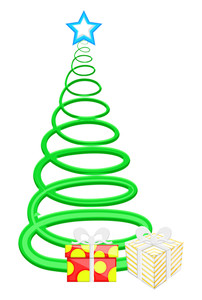 Spiral Christmas Tree With Gifts Boxes Vector