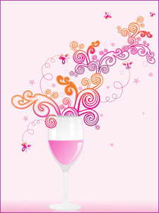 Spiral Pattern With Pink Wine Glass