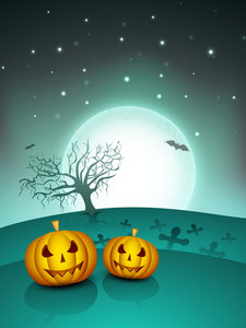Spooky Halloween Night Background With Scary Pumpkins