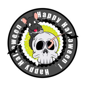 Spooky Halloween Skull With Rat Vector