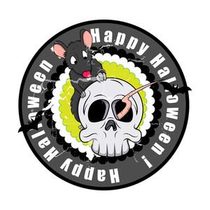 Spooky Halloween Skull With Rat Vector