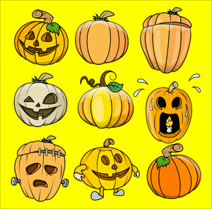 Spooky Jack O' Lantern Vectors Set