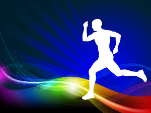 Sport Illustration Silhouette Of A Athlete Player On A Colorful Wave Background. Eps10 Vector.
