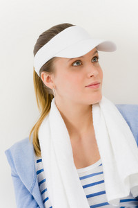 Sport - portrait of young woman in summer fitness outfit