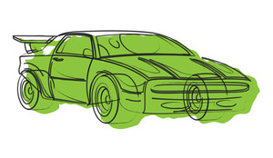 Sports Car Vector Drawing