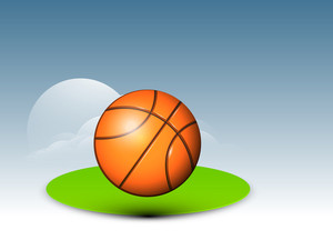 Sports Concept With Basketball On Green Stage On Blue Background.