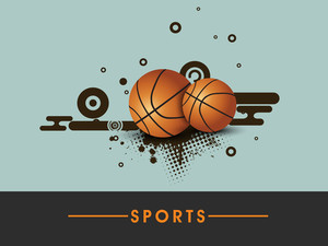 Sports Concept With Basketballs On Blue Background.