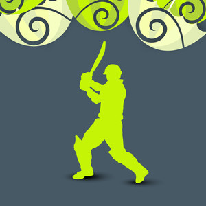 Sports Concept With Cricket Player In Batting Action On Green Floral Decorated Grey Background.