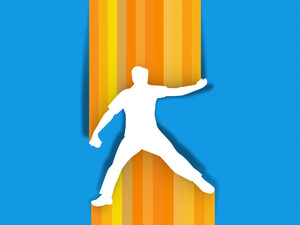 Sports Concept With Cricket Player In Bowlin Action On Orange And Blue Background.