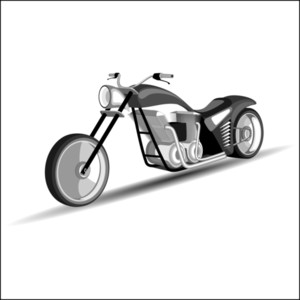 Sports Motorbike In Black & White Color.