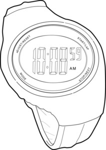 Sports Watch Line Drawing