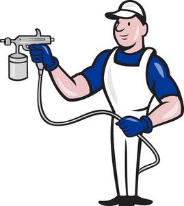 Spray Painter Spraying Gun Cartoon