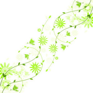 Spring Floral Background With Butterflies Vector Illustration