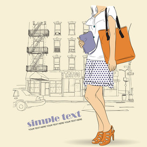 Spring Girl With Bags On A Street-background. Vector Illustration.