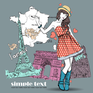 Spring Girl With Hat On A French Background. Vector Illustration
