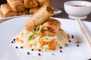 Spring Rolls And Rice