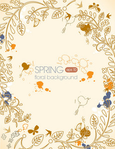 Spring Vector Illustration With Butterflies