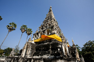 Square shaped pagoda of Wat Chedi Liam in Chiang Mai, Thailand