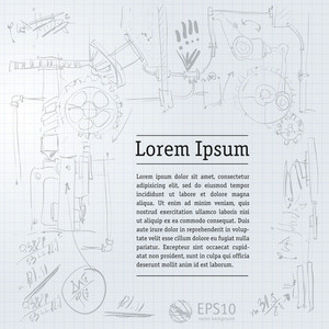 Squared Paper With Mechanical Sketches And Formulas - Vector Illustration