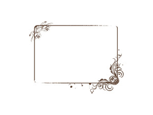 Squire Frame With Elements And Flowers Background In Brown