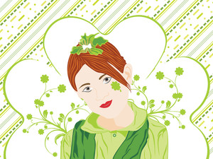 St. Patrick's Day Background With Girl 17 March