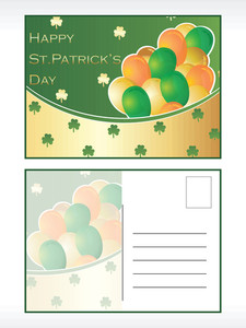 St. Patrick's Day Balloon Pattern Postcard