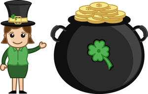 St. Patrick's Day Fortune - Cartoon Business Characters