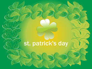 St. Patrick's  Day Leaves Pattern Background 17 March