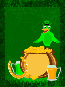 St. Patrick's Day Ornaments With Bird Having A Hat. Vector.