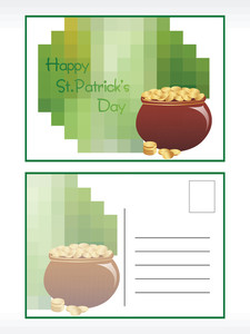St. Patrick's Day Postcard With Earthenware