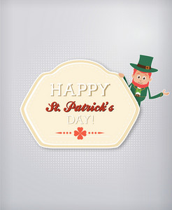 St. Patrick's Day Vector Illustration With Badge And Leprechaun