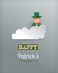 St. Patrick's Day Vector Illustration With Clouds And Leprechaun