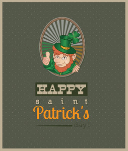 St. Patrick's Day Vector Illustration With Clover And Leprechaun